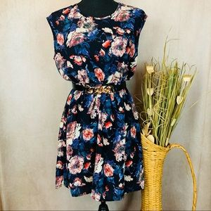 Soprano | Floral Fit and Flair Dress | Blue | M*